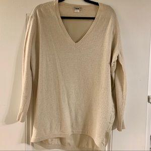 Acne v neck cream cashmere sweater with silk back
